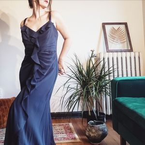 Vera Wang Navy Bridesmaid Dress Ruchet Goen Ruffle